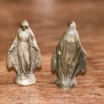 Antique small 2 copper Maria figurines